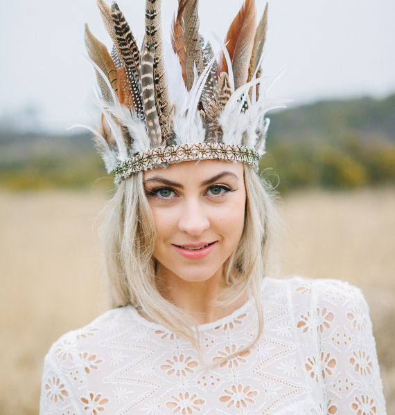 Wild Feather Headdress With Antique Gold Trim