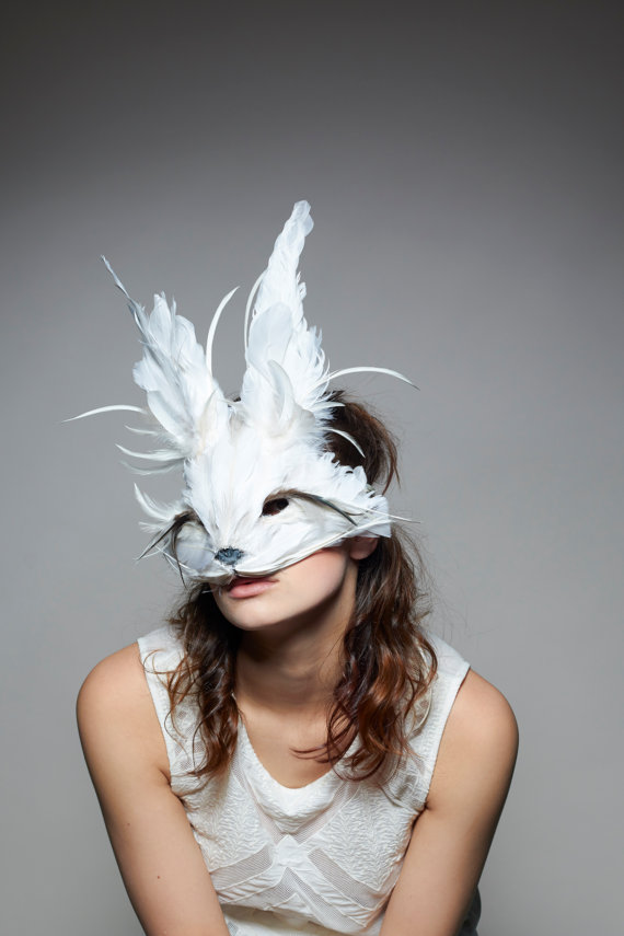 luxury white rabbit mask